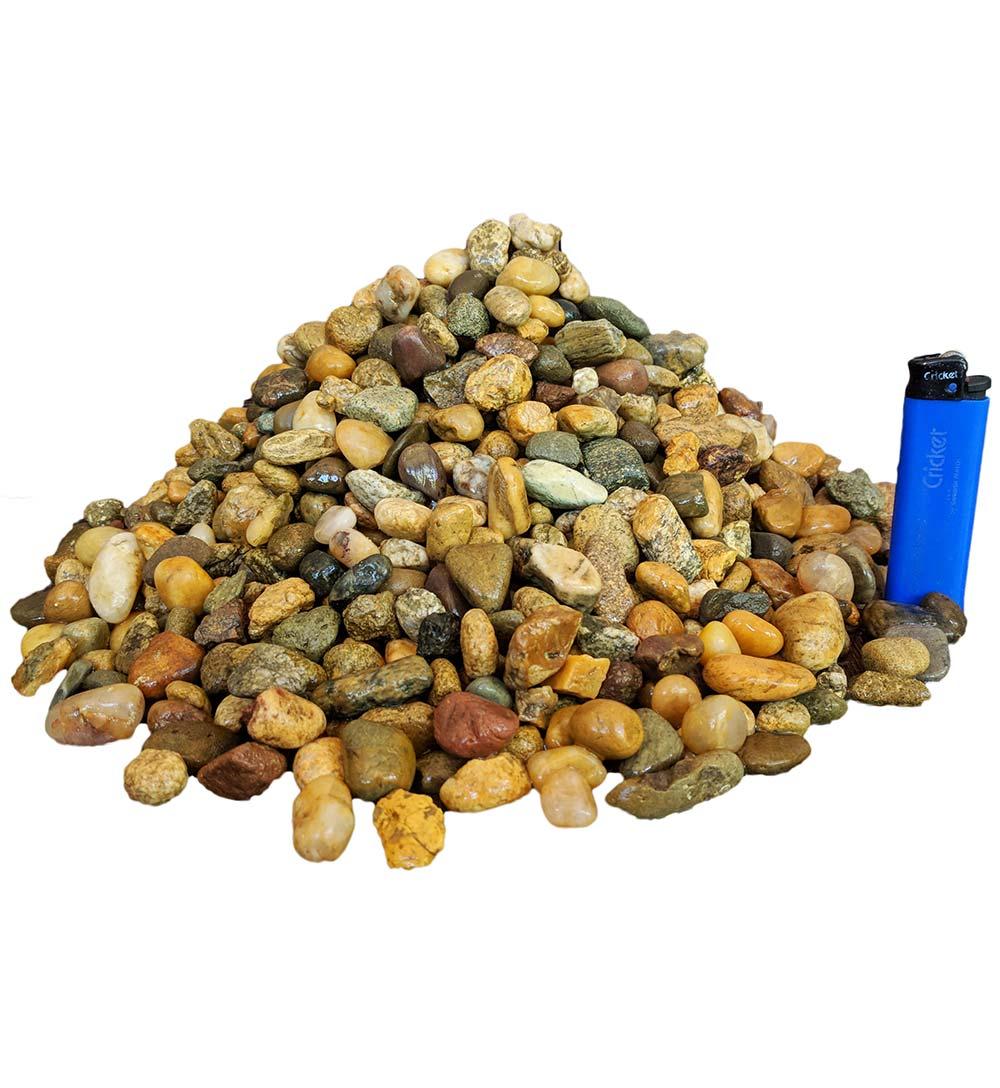 Галька окатанная речная серо-желтая в мешках фр. 10-20 мм
